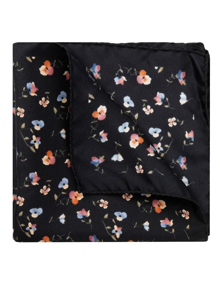 Black Viola Silk Twill Pocket Square image 2