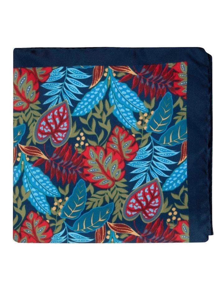 Navy Houseplants Silk Twill Pocket Square image 1