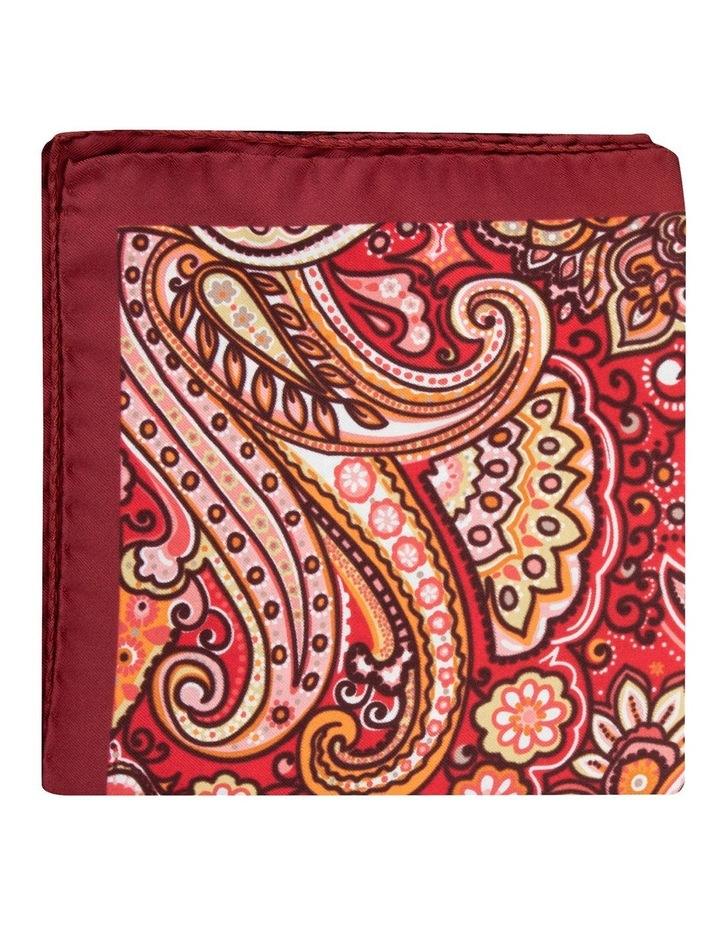 Red Wild Paisley Silk Twill Pocket Square image 1