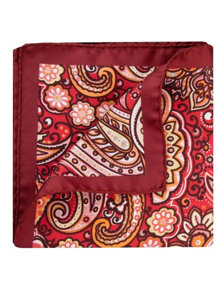 Red Wild Paisley Silk Twill Pocket Square image 2