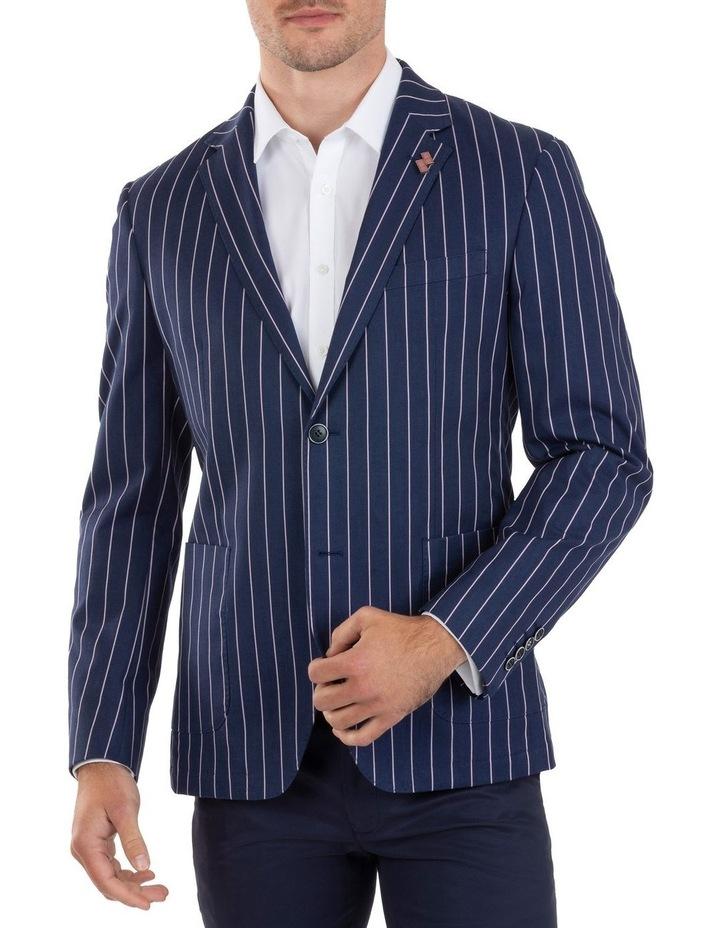 Slim Fit Electron Blue Stripe Cotton Jacket FUM514 image 1