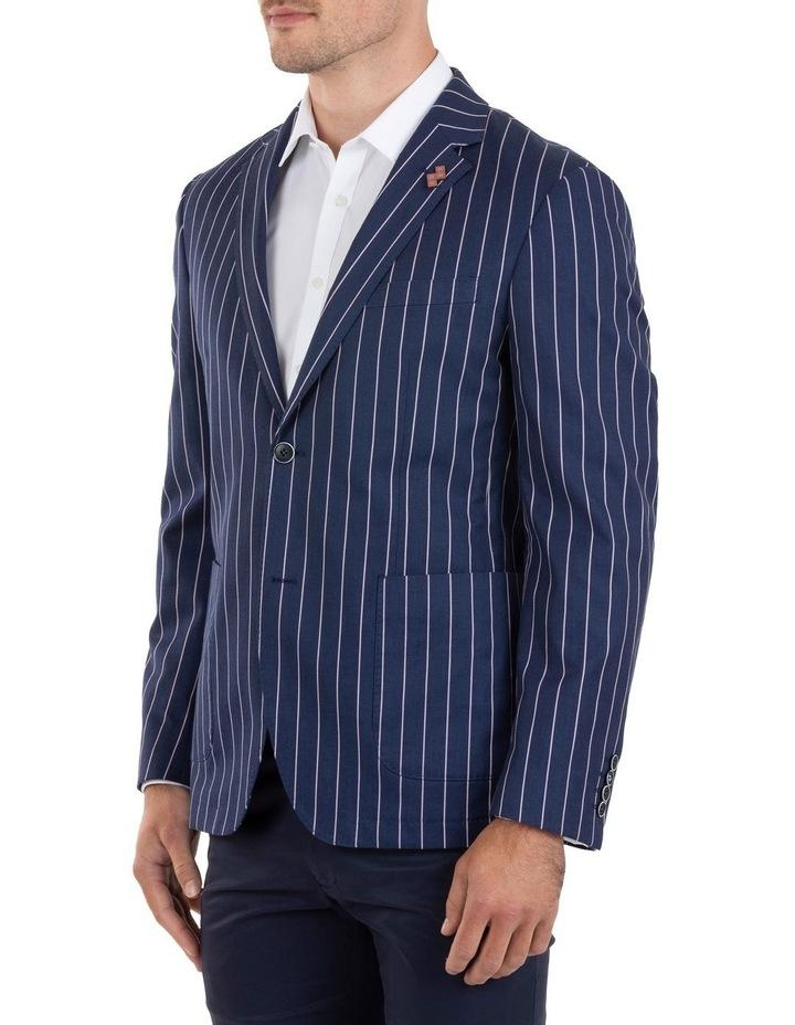Slim Fit Electron Blue Stripe Cotton Jacket FUM514 image 2