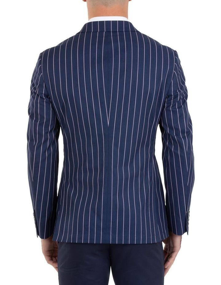 Slim Fit Electron Blue Stripe Cotton Jacket FUM514 image 3