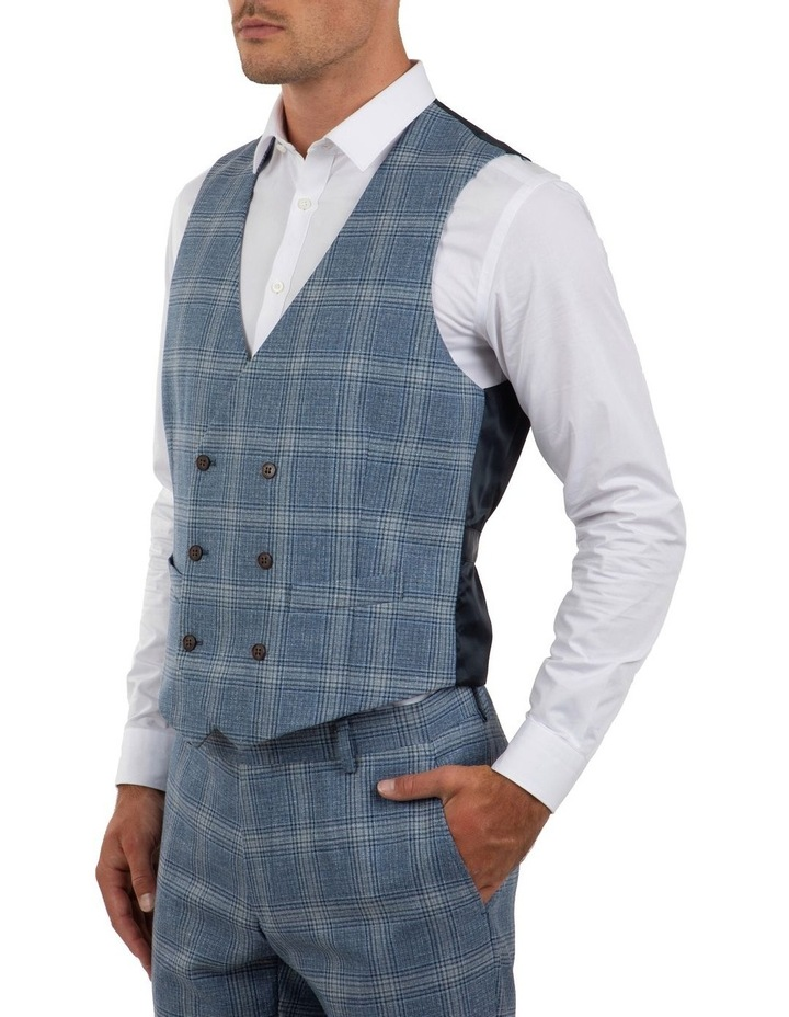 Slim Fit Joule Blue Check Vest FGM701 image 2