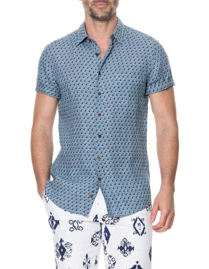 York Bay Short Sleeve Sports Fit Shirt - Blue image 1