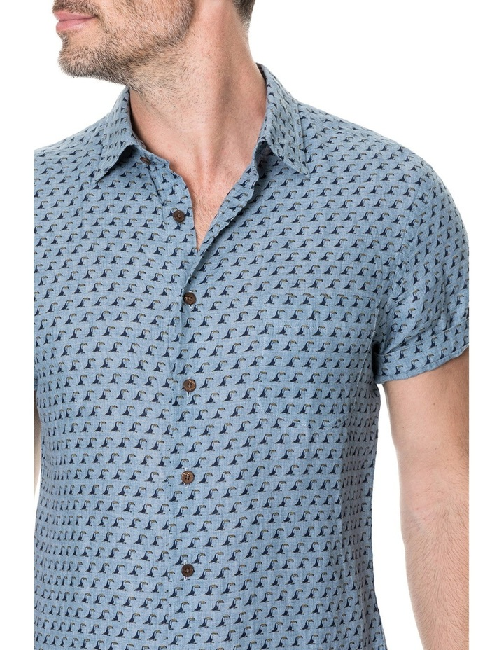 York Bay Short Sleeve Sports Fit Shirt - Blue image 4