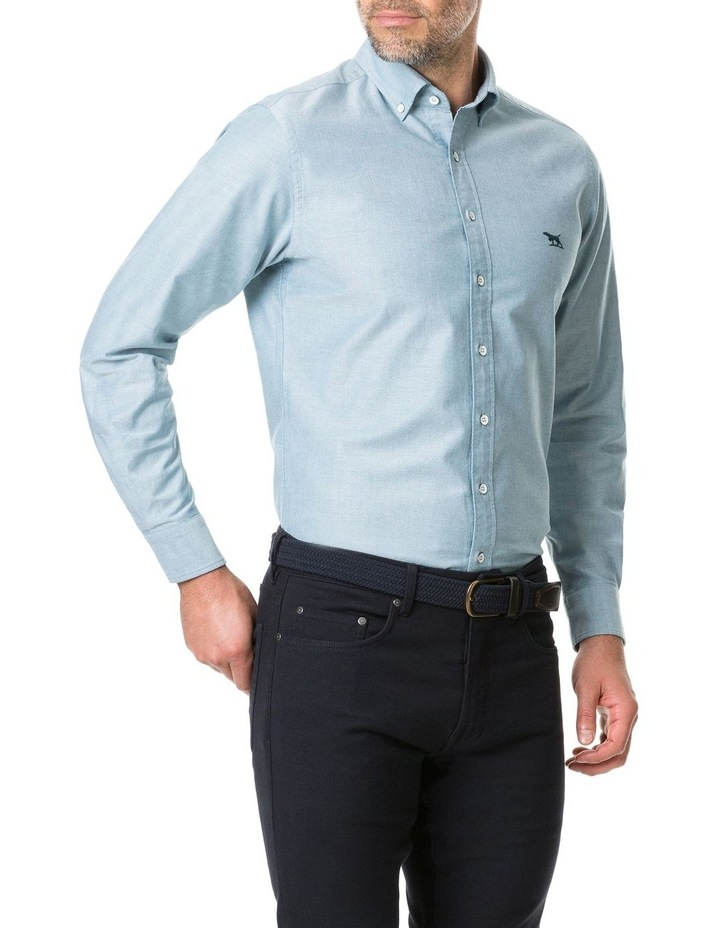 Vincent Street Long Sleeve Sports Fit Shirt - Sage image 2