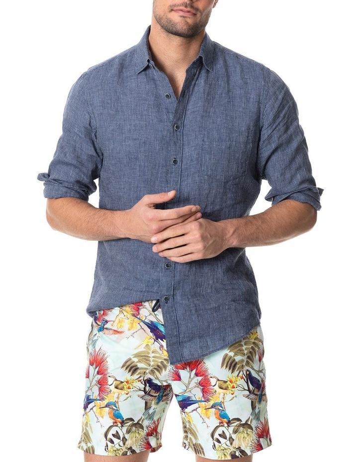 Baylys Beach Long Sleeve Sports Fit Shirt - Marine image 1