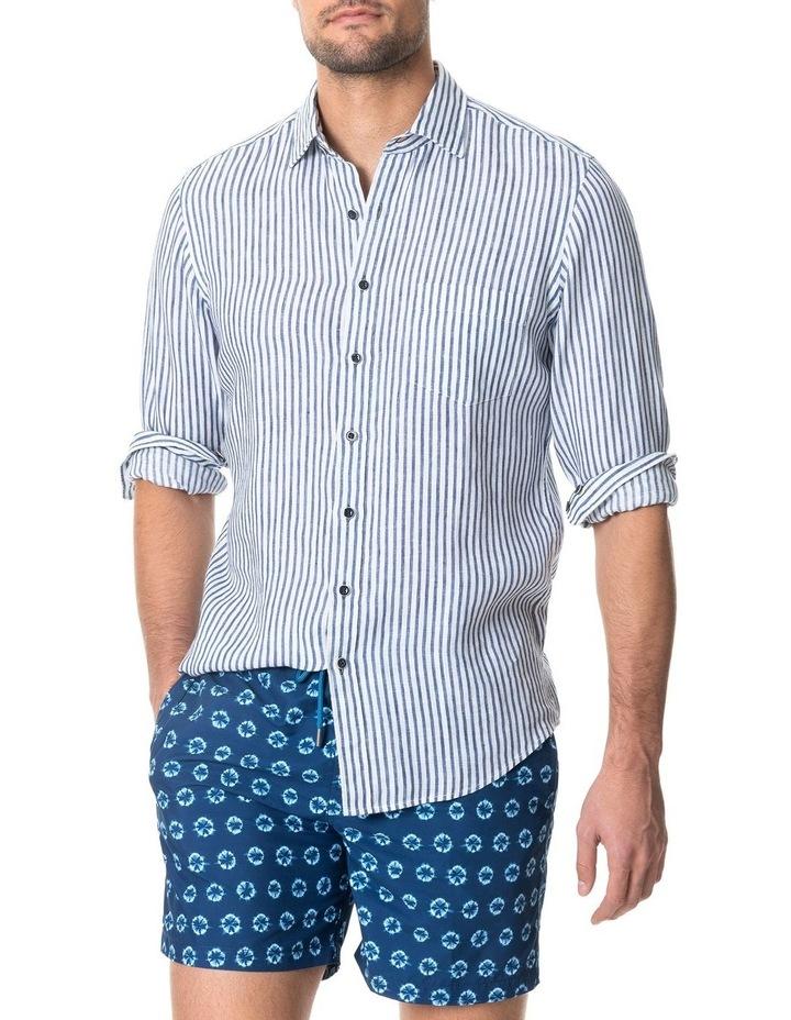 Port Charles Long Sleeve Sports Fit Shirt - Deep ocean image 1