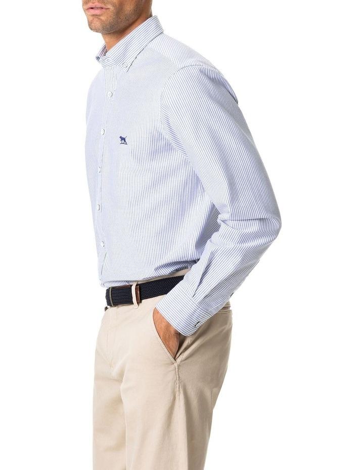 South Island Oxford Long Sleeve Sports Fit Shirt - Royal image 2