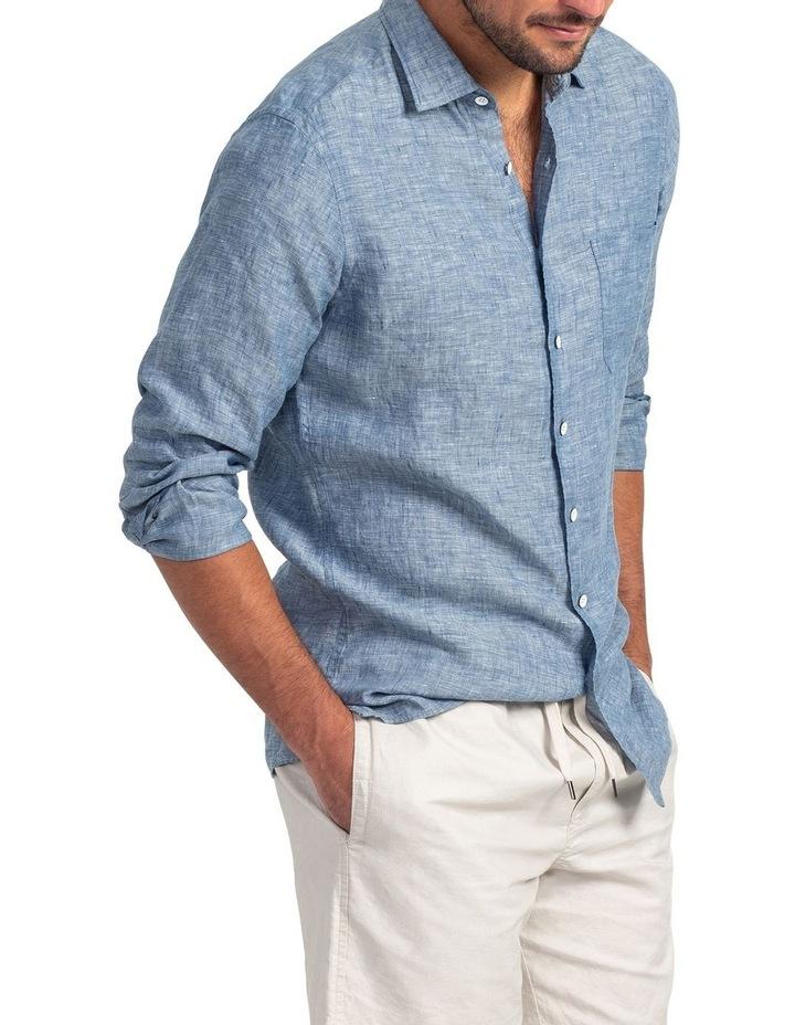 Chaffeys Long Sleeve Sports Fit Shirt - Denim image 2