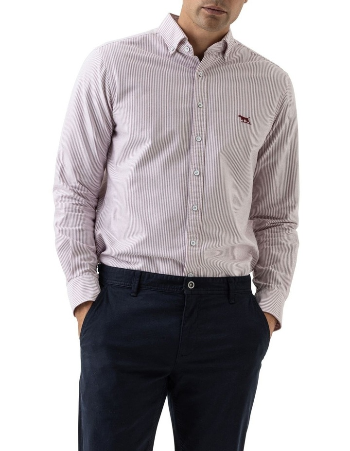 South Island Oxford Long Sleeve Sports Fit Shirt - Port image 1
