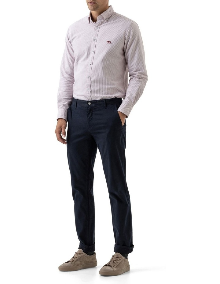 South Island Oxford Long Sleeve Sports Fit Shirt - Port image 2