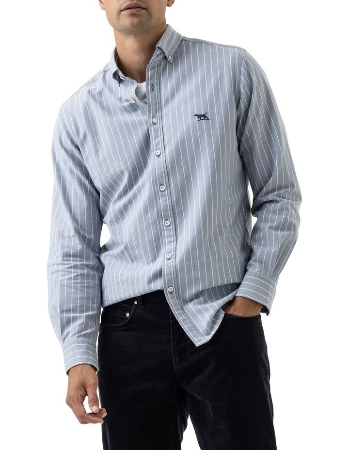 Oxford Stripe 3 Long Sleeve Sports Fit Shirt - Arctic image 1