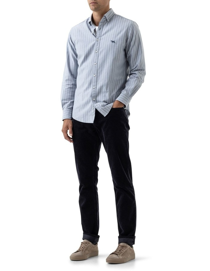 Oxford Stripe 3 Long Sleeve Sports Fit Shirt - Arctic image 2