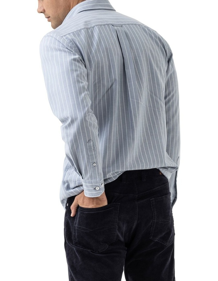 Oxford Stripe 3 Long Sleeve Sports Fit Shirt - Arctic image 3