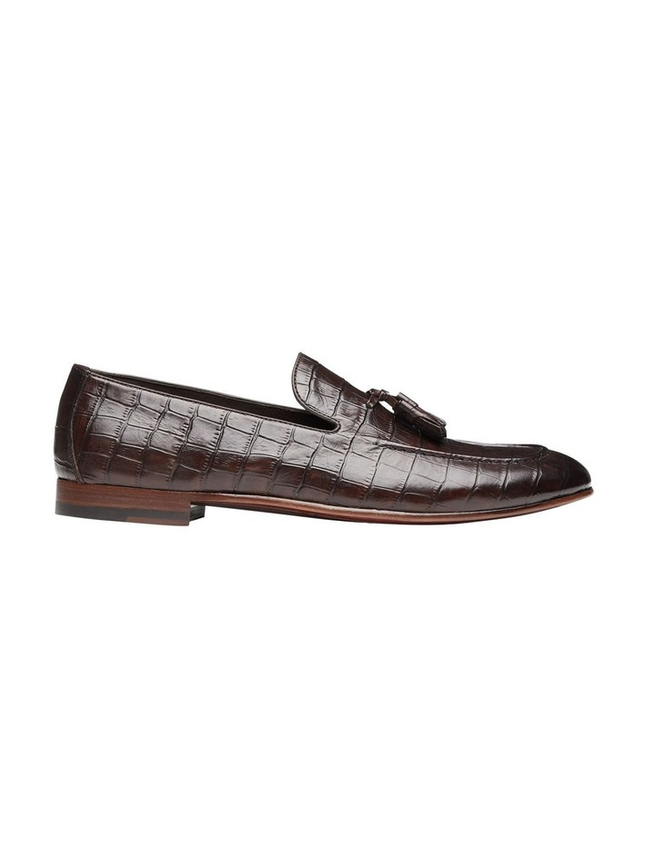 Alberto Brown Croc Print Leather Loafers image 1