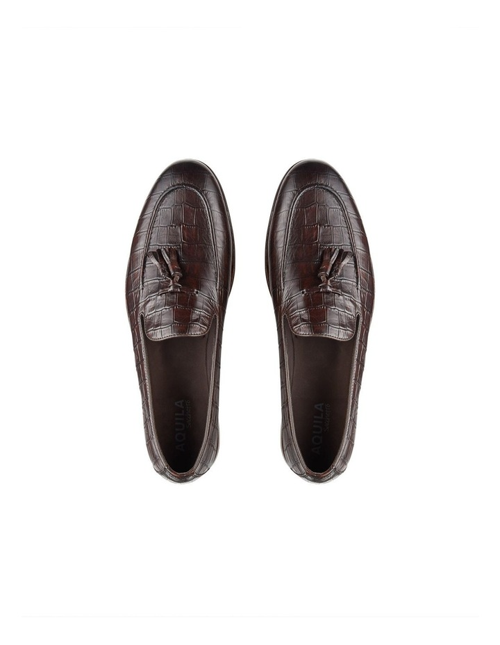 Alberto Brown Croc Print Leather Loafers image 3