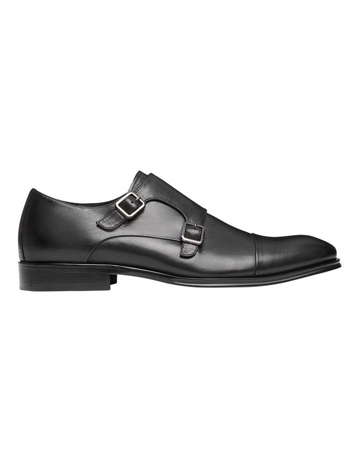 Brennin Black Leather Monk Strap Shoes image 1