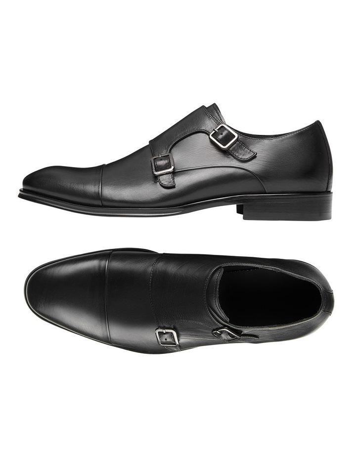Brennin Black Leather Monk Strap Shoes image 2