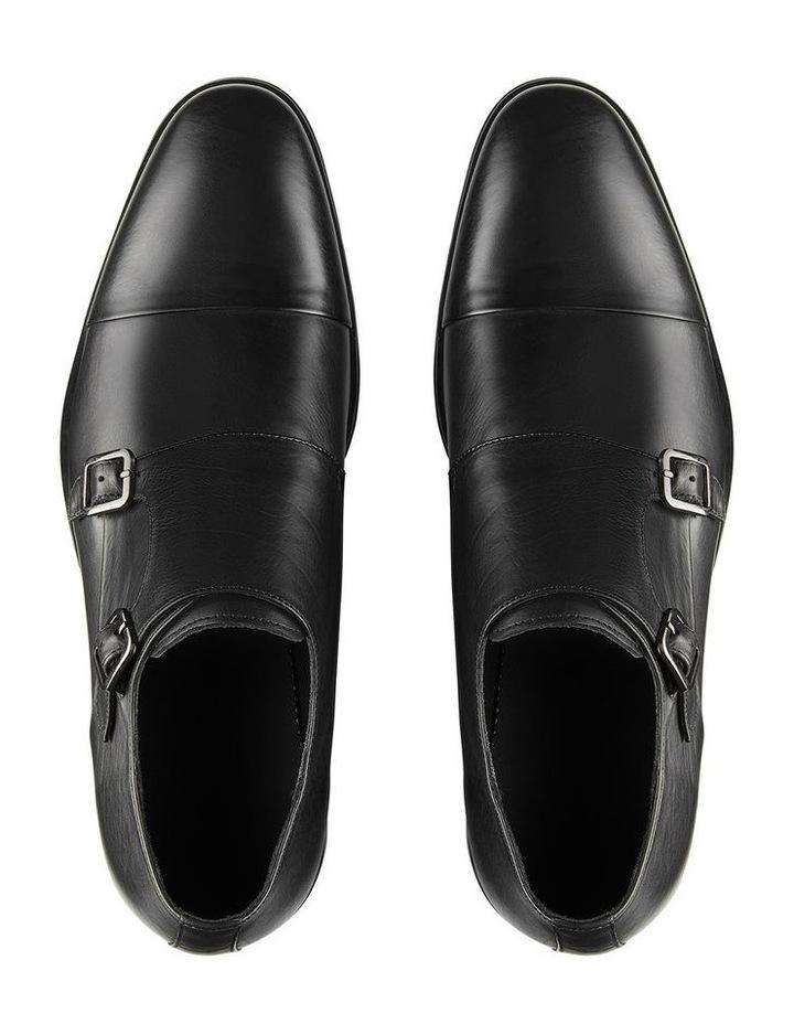 Brennin Black Leather Monk Strap Shoes image 3