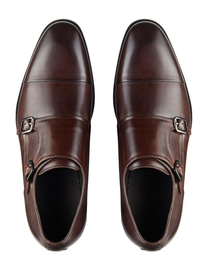Brennin Brown Leather Monk Strap Shoes image 3