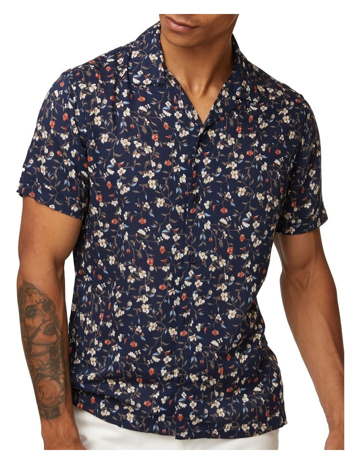 Navy Vines Short Sleeve Shirt image 4