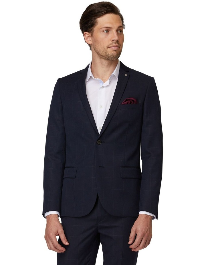 Navy Windowpane Suit Jacket image 1
