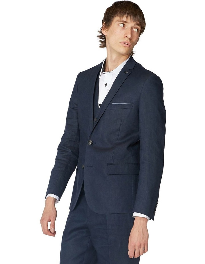 Navy Linen Suit Jacket image 2