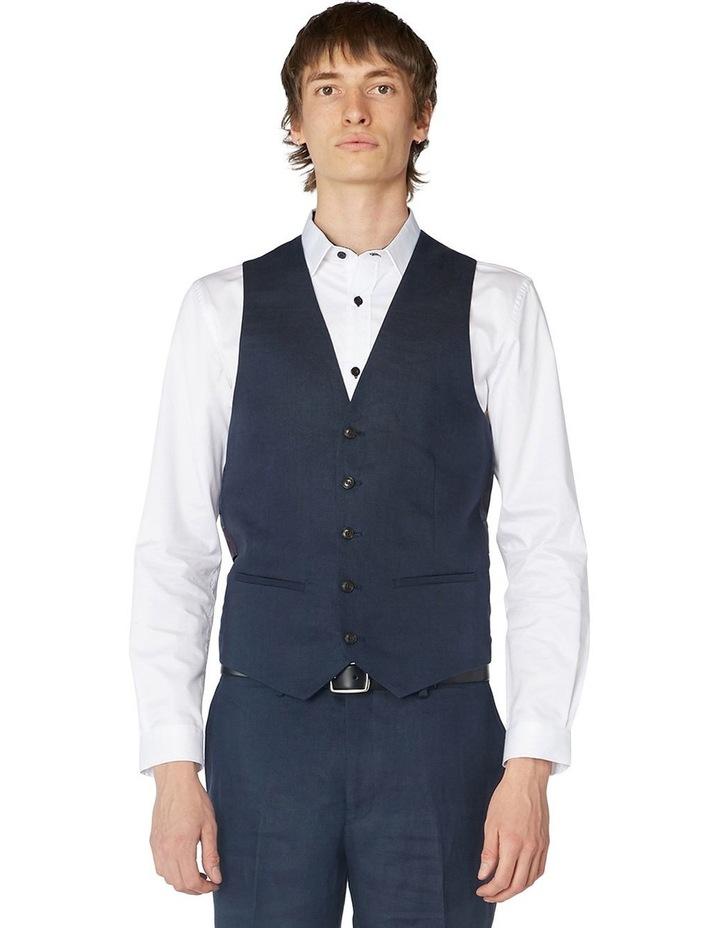 Navy Linen Waistcoat image 1
