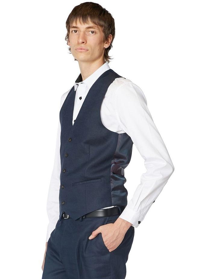 Navy Linen Waistcoat image 2