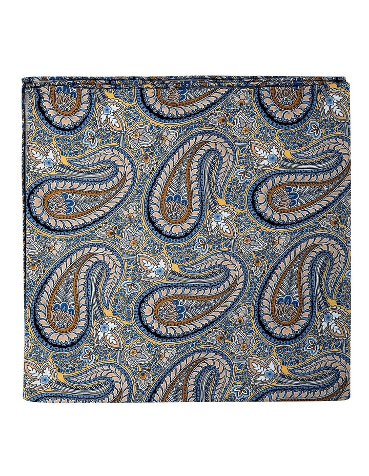 Botany Paisley Silk Pocket Square-Gold image 1