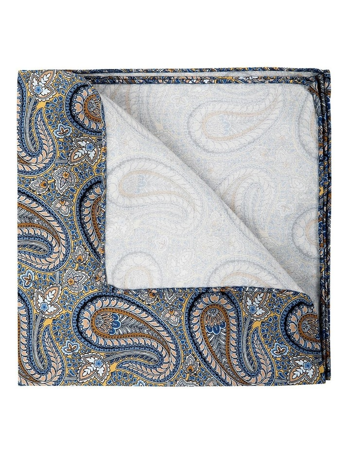 Botany Paisley Silk Pocket Square-Gold image 2