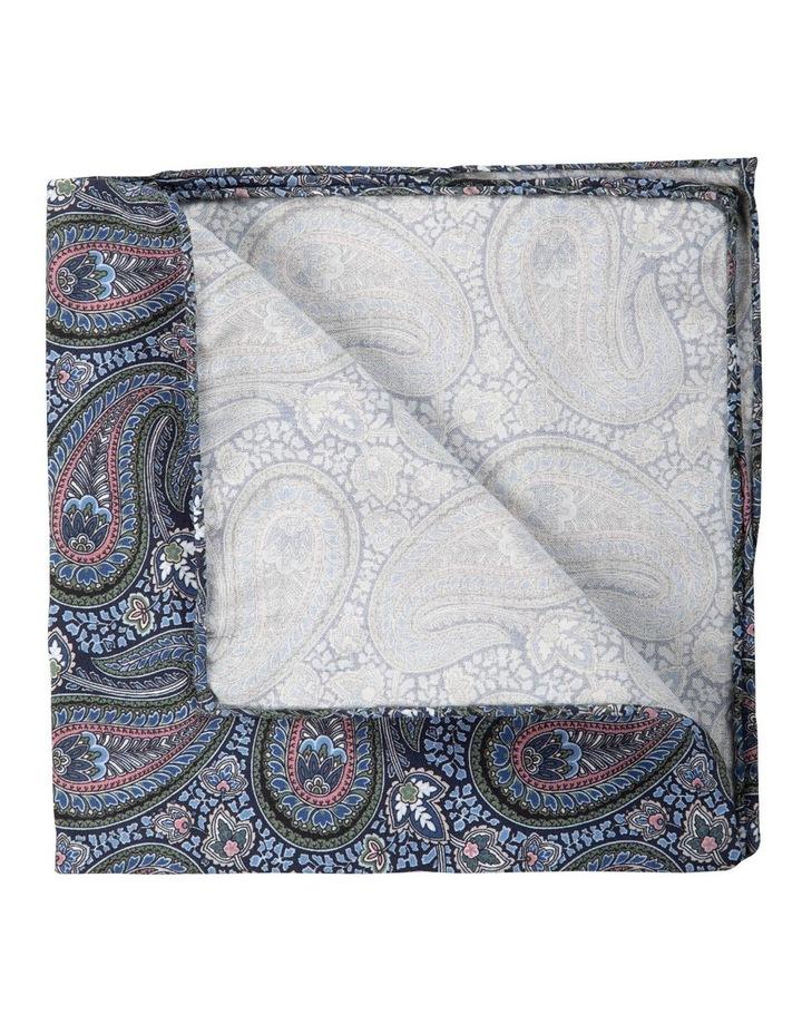 Botany Paisley Silk Pocket Square-Navy image 2