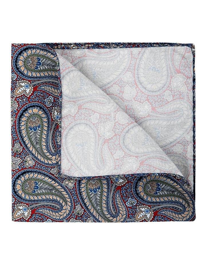 Botany Paisley Silk Pocket Square-Red image 2