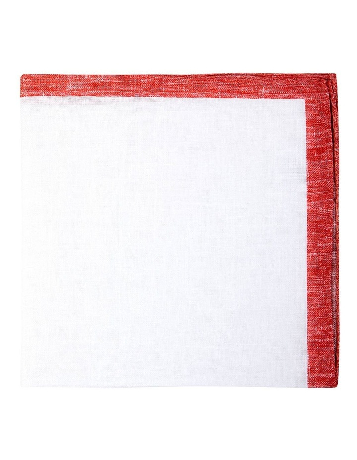 Coloured Edge Linen Pocket Square-Coral image 1