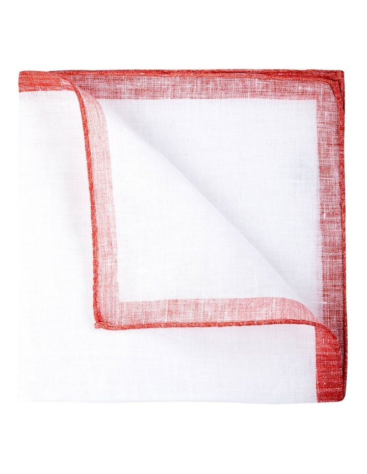 Coloured Edge Linen Pocket Square-Coral image 2