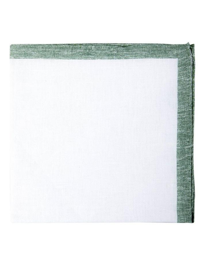 Coloured Edge Linen Pocket Square-Jade image 1