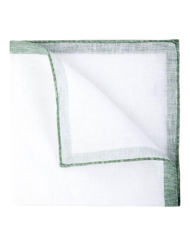 Coloured Edge Linen Pocket Square-Jade image 2