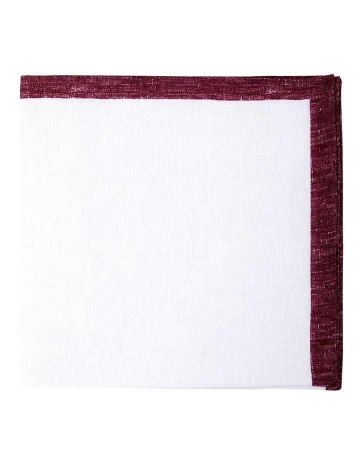 Coloured Edge Linen Pocket Square-Wine image 1
