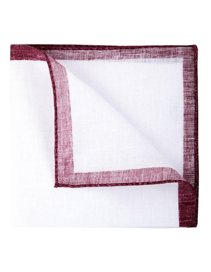 Coloured Edge Linen Pocket Square-Wine image 2