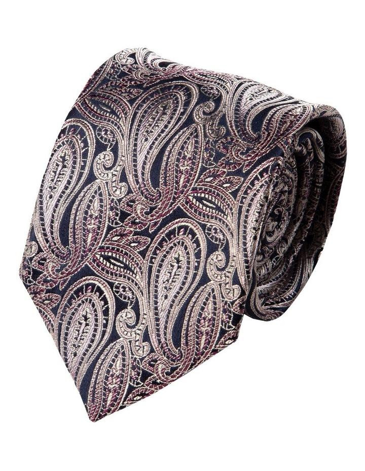 Graphite Paisley Silk Tie-Pink image 1