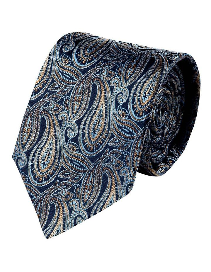 Graphite Paisley Silk Tie-Yellow image 1