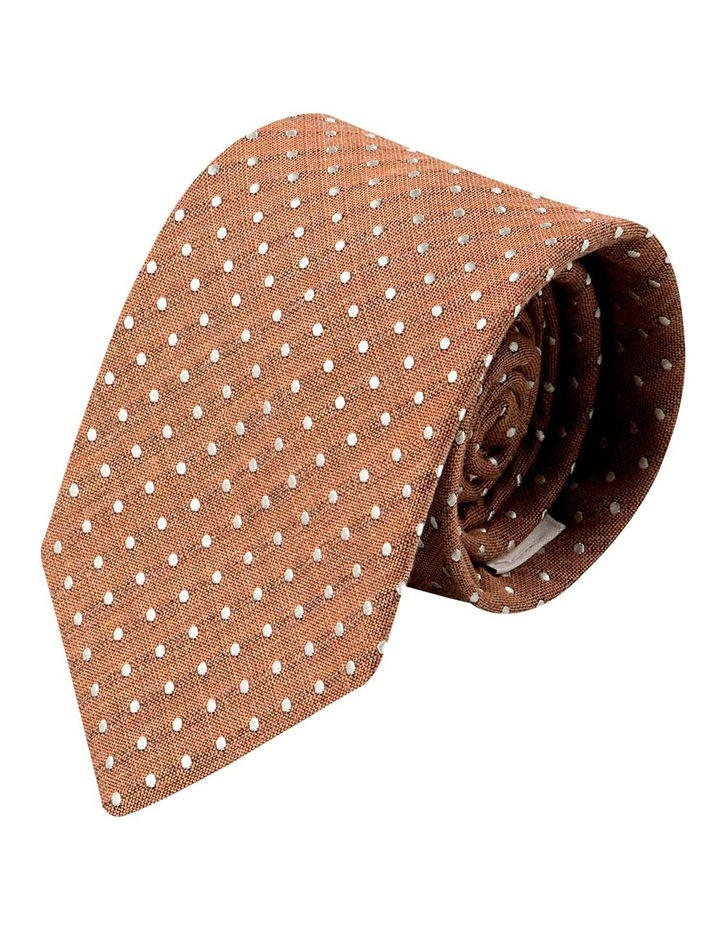 Melange Polkadot Silk/Cotton Tie-Rust image 1