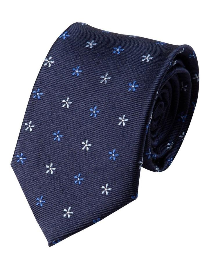 Neat Foulard Silk Tie-Blue image 1