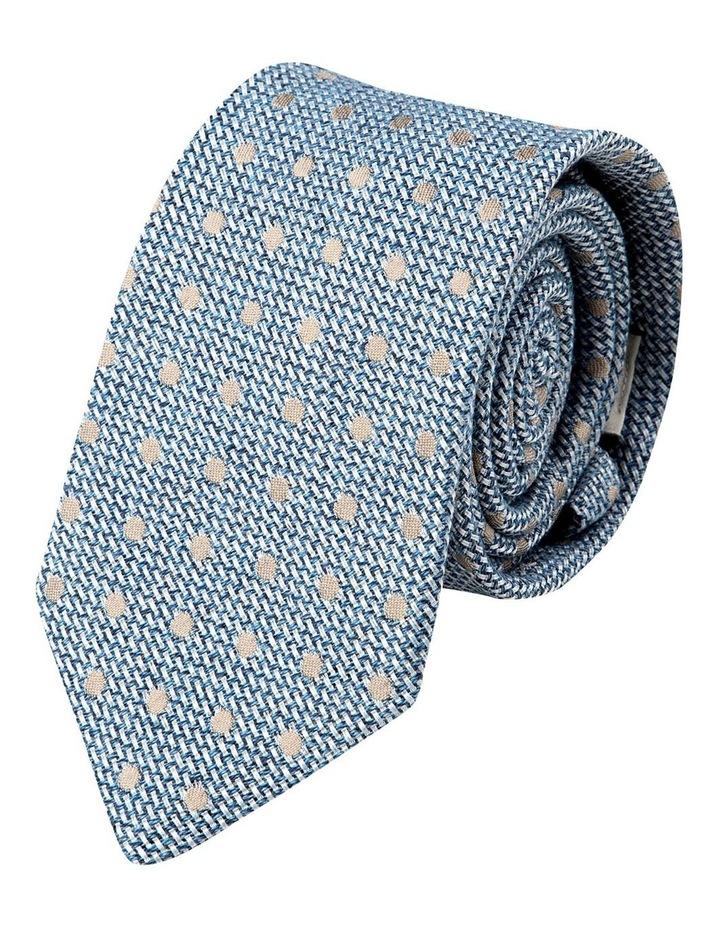 Woven Polkadot Cotton/Silk Tie-Blue image 1