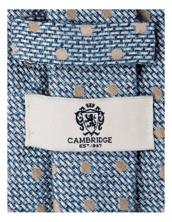 Woven Polkadot Cotton/Silk Tie-Blue image 2