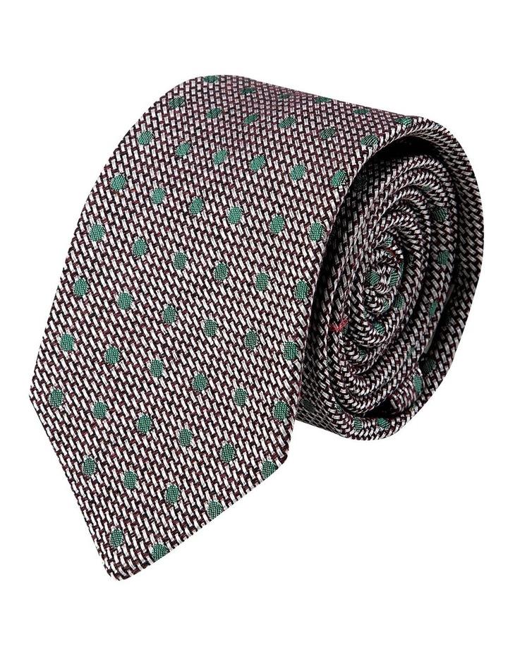 Woven Polkadot Cotton/Silk Tie-Plum image 1