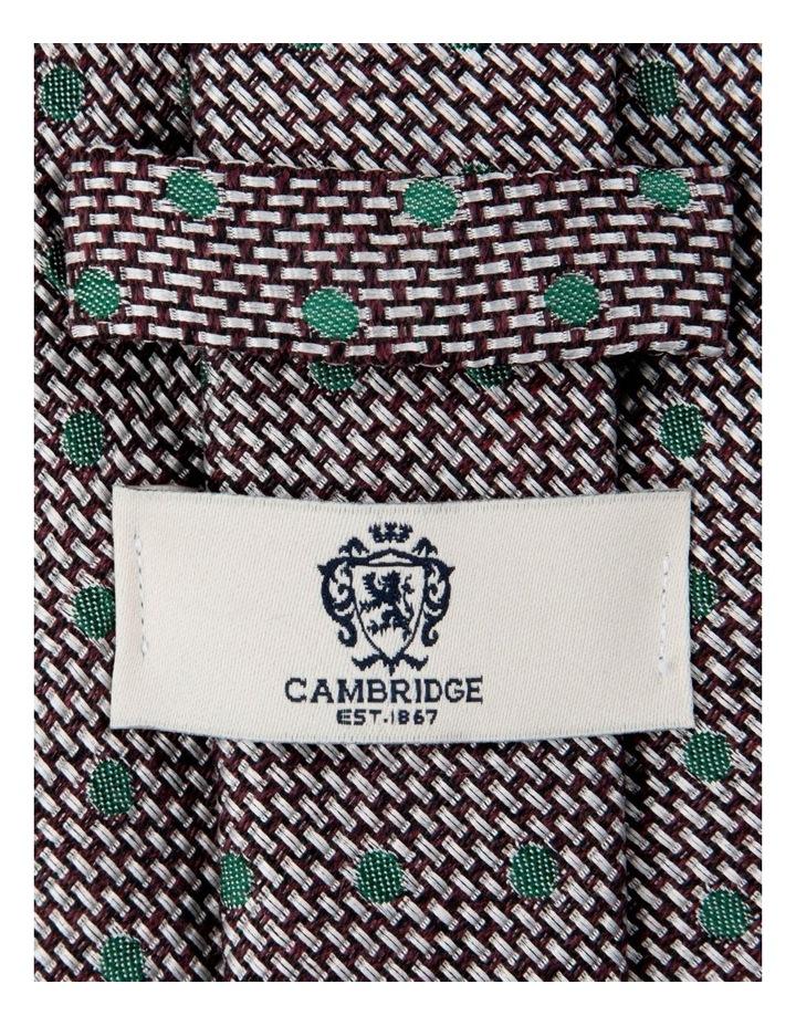 Woven Polkadot Cotton/Silk Tie-Plum image 2