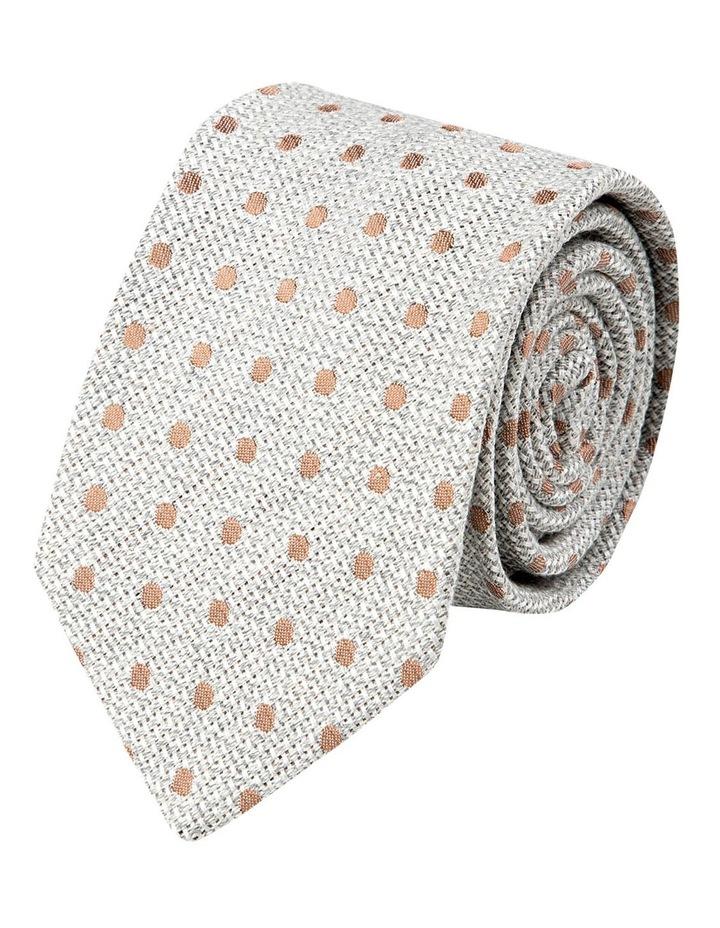 Woven Polkadot Cotton/Silk Tie-Taupe image 1